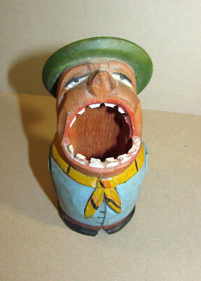Vintage Hand Carved Wood Wooden Man -Big Wide Mouth- Toothpick Holder ANRI ITALY