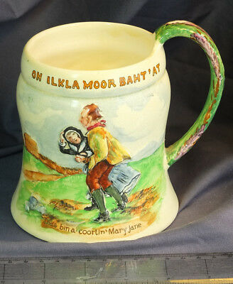 Crown Devon Musical Tankard of 'On Ilkla Moor Baht' At c1900