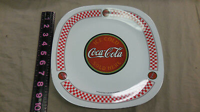8 Plastic Coca Cola plate red and white color used collectible Gibson--10.5""