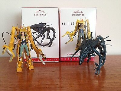 Hallmark Aliens Queen and Ripley with Power Loader Ornaments NIB Free Shipping