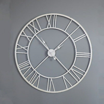 Large white seleton style wall clock shabby vintage chic Roman Numeral display