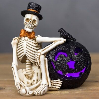 CRACKER BARREL HALLOWEEN Light-Up Skeleton Figurine NIB