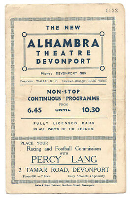 DEVONPORT Alhambra Theatre 8 Page Programme for week commencing 22 July 1935