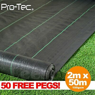 2m x 50m ground cover fabric landscape garden weed control membrane heavy duty