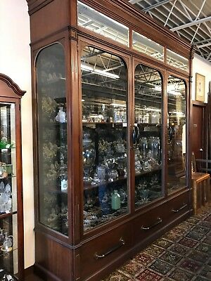 """Wood and Glass Store Display Case, Mercantile Showcase Beautiful Shape """"1970's"""""""