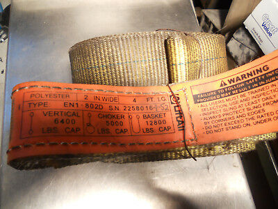 """2 Used, EN1-802D Polyester Lifting Sling Strap Endless 2"""" X 4 Ft. 12800 Lbs Max"""