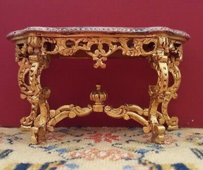 Dollhouse miniature handcarved painted rococo console table, artisan made 1:12