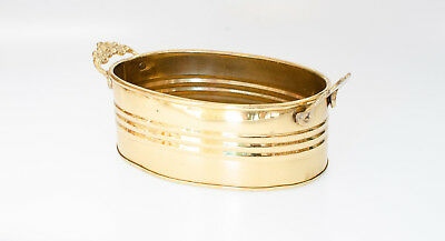 Vintage Polished Solid Brass Planter Pail Bucket Victorian Style Handles