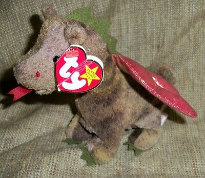 Vintage Ty Scorch the Dragon beanie baby 1998 with tag defects