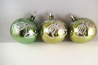 Vintage Lot of 3 Mercury Glass Christmas Ornaments Green Silver Glitter Bell