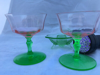 Two Depression Pink Green Stemmed  Watermelon Cordial Glasses - Uranium Glass