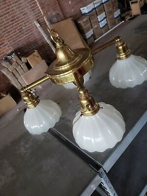 Antique Art Deco Four Light Brass Chandelier With Scalloped Milk Glass Shades