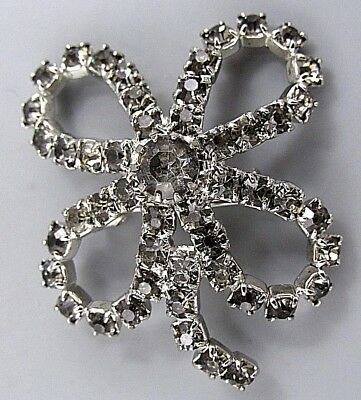 Vintage Jewelry Smokey Crystal 4 Leaf Clover BROOCH PIN Rhinestone Lot M