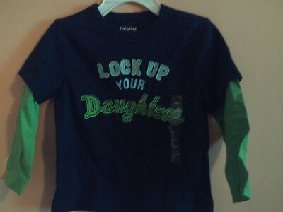 NWT BabyGap boys faux layered ls t-shirt navy with green sleeves sz 18-24m