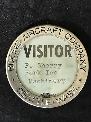Boeing Aircraft Co Antique Metal VISITOR Badge Seattle WA York Ice Machinery