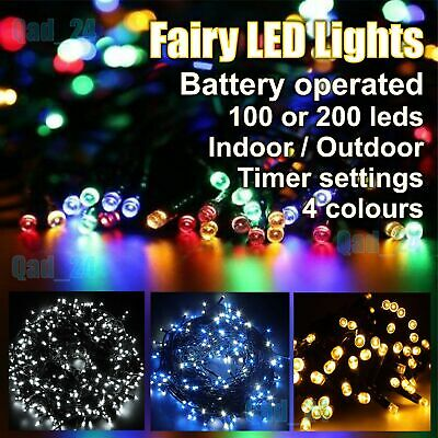 Fairy Lights LED Battery Operated Timer - Indoor Outdoor Christmas Tree Party