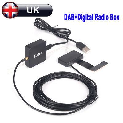 Car DAB+ Digital Radio Receiver Box Amplified Aerial Antenna USB Charger Adapter