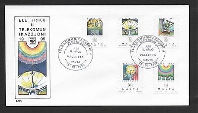 Malta First Day Cover, 1995 Maltese Electricity And Telecomms Stamp Set Used