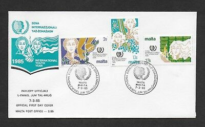 Malta First Day Cover, 1985 International Youth Year Stamp Set Used