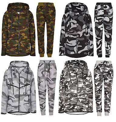 Boys Contrast Camouflage Print Tracksuit Sweat Top & Jogging Track Bottoms Set