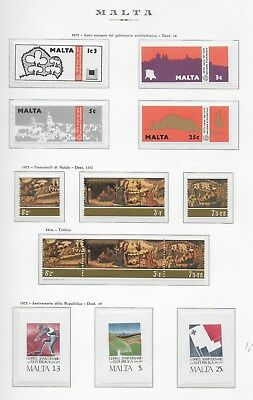 Malta Stamp Sets, 1975 Page, Unmounted Mint.