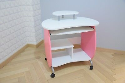 Table - bureau ordinateur - console - contemporain - design - blanc / rose