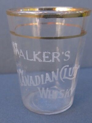 """Vintage Etched Whiskey Shot Glass - Walker's """"canadian Club"""""""