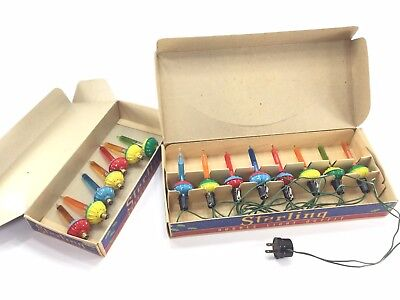 Vintage Sterling Paramount Bubble Biscuit Lights 7 Extra Bulbs Original Box