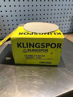 "100 New Klingspor  5"" Dia 60 GRIT Hook & Loupe Back Sanding Discs PS33"