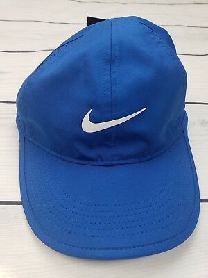 40cbca4d447 Nike Dri Fit Featherlight Adjustable Cap Fitness Womens Hat Blue NEW 679424  433
