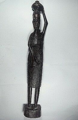 Vintage Figurine Handmade Carved Wooden African Tribal Woman Statue Gift Culture