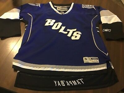 6847059ad Tampa Bay Lightning Nhl Premier Hockey Jersey Blue By Reebok Youth L   Xl  Blue