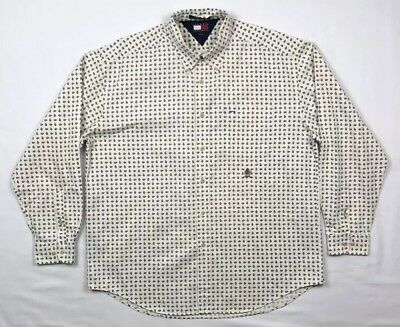 Vtg Tommy Hilfiger Mens XL Ivory Paisley All Over L/S Button Down Shirt C5
