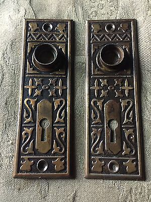 ANTIQUE Pair Of STAMPED ART /NOUVEAU PATTERN BACKPLATES
