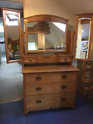 Antique Arts & Crafts Satin Walnut, 8 Drawer Dressing Table/Chest with 3 Mirrors