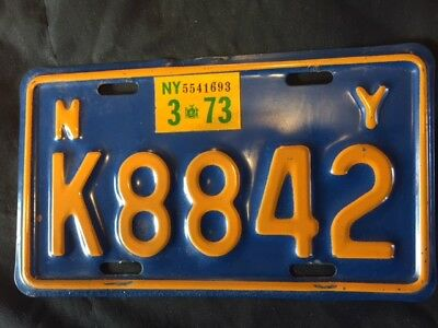 NY 66-73 Motorcycle License Plate - Very Good - Natural 73 - DMV Clear !