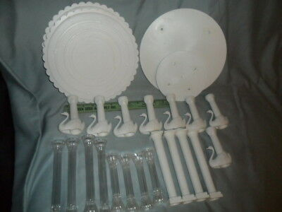 Lot of Wilton Cake Separators and 22 Columns Clear - Grecian - Swans