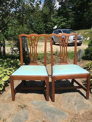 1770 Rare Pair Tidewater Virginia Cherry Chippendale Side Chairs Williamsburg