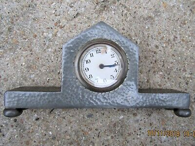 RECLAIMED HAMMERED 1930s ART DECO LION PEWTER CLOCK  ENGINE TURNED  ENGLISH MADE