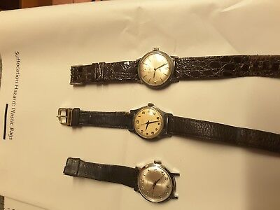 3 x vintage mechanical watches, 2 working annd one spares and repairs