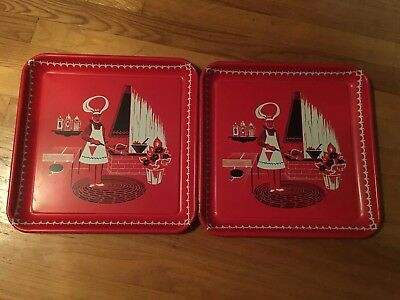 Set of 2 Vintage Marcelline Stoyke Red Metal BBQ Chef Grill Trays MCM Kitchen