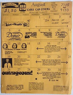CABLE CAR CINEMA November 1978 Schedule POSTER South Main Street PROVIDENCE RI