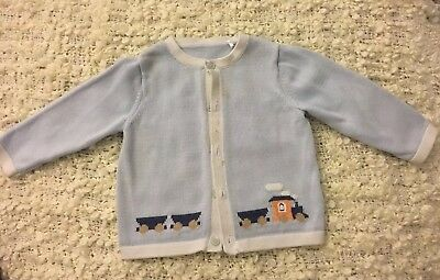 Mothercare Heritage Baby Blue Cardigan 9-12 Months Regal Prince Royal Baby