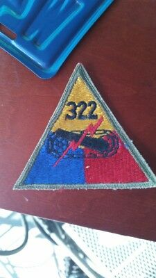 Original:    WW2  OD Border 322nd  Armored BNN  patch