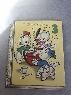 Vintage Pop Up Birthday Card 3 Year Old Three Little Pigs