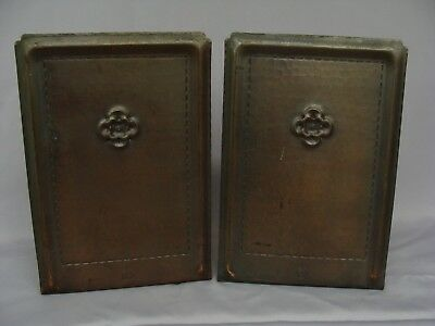 Antique Arts Crafts Roycroft Hand Hammered Copper Bookends Tooled Flower