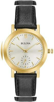 Bulova Women's Quartz Stainless Steel and Leather Casual Watch, Color:Black...