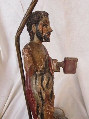 """Early 19th Century Antique Wooden Carved Religious Creche Figurine Lamp 14.5"""""""