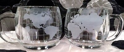 2 Nestle World & Map Design Glass Mugs 3 inches tall holds 8oz