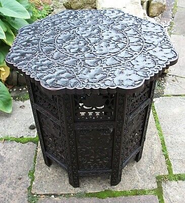 Large  Antique Octagonal  Folding  Anglo/ Indian   Side Table